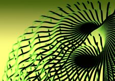 Twisted chrome metal. Model of twisted green metal Royalty Free Stock Images
