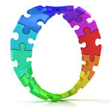 Twisted circle of colorful jigsaw puzzles Royalty Free Stock Image