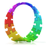 Twisted circle of colorful jigsaw puzzles Royalty Free Stock Photo