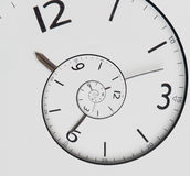 Twisted clock face. Time concept. Twisted clock face close up. infinite time concept Stock Image