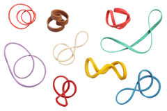 Twisted colorful elastic rubber bands isolated on white backgrou Stock Photo