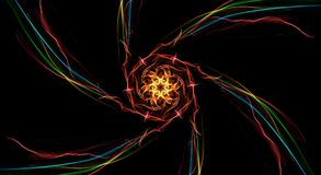 Twisted colorful fractal wave on black background. Illustration Stock Photography