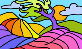 Twisted colorful tree. Design with a twisted colorful tree Royalty Free Stock Photo