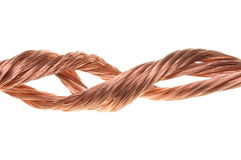 Twisted copper wire isolated Royalty Free Stock Images