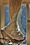 Twisted curtain in livingroom Royalty Free Stock Photography