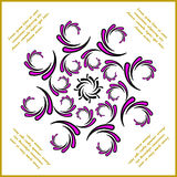 Twisted and curwed violet pattern with text Royalty Free Stock Images