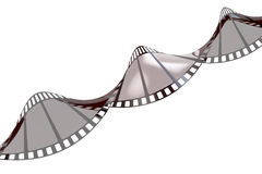 Twisted empty film strip, 3D rendering. On white background Royalty Free Stock Photo