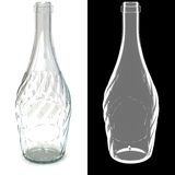 Twisted empty glass transparent bottle. A three-dimensional model of transparent glass bottles of irregular shape with a transparency mask Stock Photos