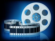 Twisted film for movie. Vector Illustration. Twisted film for movie on blue background. Vector Illustration. EPS10 Stock Images