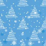 Twisted fir tree pattern. Vector twisted fir tree with snowflakes repeated on blue background Royalty Free Stock Photography
