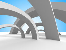 Twisted futuristic architecture on sky background Stock Image