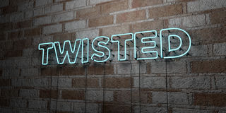 TWISTED - Glowing Neon Sign on stonework wall - 3D rendered royalty free stock illustration Royalty Free Stock Photos