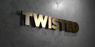 Twisted - Gold sign mounted on glossy marble wall  - 3D rendered royalty free stock illustration Royalty Free Stock Photo