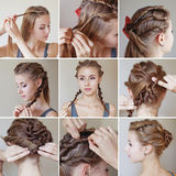 Twisted hairdo tutorial. By beauty blogger Stock Images