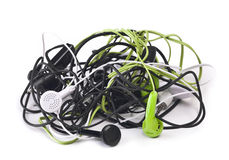 Twisted headphones Stock Images