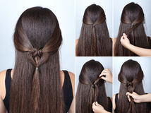Twisted heart hairstyle tutorial for long hair Stock Images