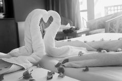 Twisted heart out of towels at the black-and-white Royalty Free Stock Images