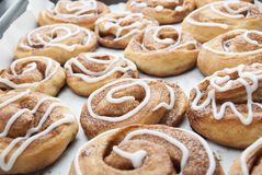 Twisted home made cinnamon rolls. Homemade baking. Royalty Free Stock Images