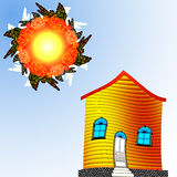 Twisted house and sun Royalty Free Stock Photos