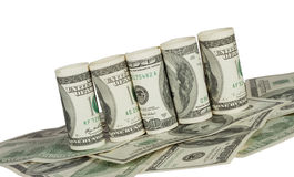 Twisted hundred dollar bill Royalty Free Stock Photography