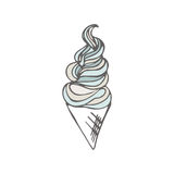 Twisted ice cream cone. Stylized dessert. Vector illustration. Sweet dessert background. Twisted ice cream cone. Stylized dessert. Dessert vector illustration Royalty Free Stock Images