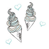 Twisted ice cream cone. Stylized dessert. Vector illustration. Sweet dessert background. With drops Stock Images