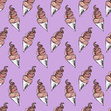Twisted ice cream cone. Stylized seamless pattern. Vector illustration.. Sweet dessert background with drops Stock Images