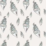 Twisted ice cream cone. Stylized seamless pattern. Vector illustration. Sweet dessert background. With drops Stock Photo