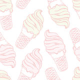 Twisted ice cream in a waffle cone. Stylized Royalty Free Stock Photography