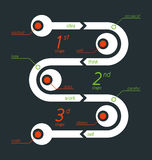 Twisted info graphic with separate sections designated by digits. And title. Flat, clean and simple design Stock Photos