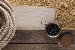 Twisted jute rope compass navigation Stock Photography