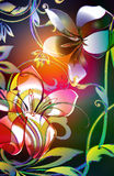 Twisted lilly. Whimsical scroll viney leaf motif with tropical plumeria and lilly flowers. Decorated colored outlines and watercolor background Stock Photography