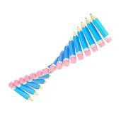 Twisted line of pencils isolated. Twisted line of many blue pencils isolated over the white background Stock Images