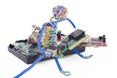 Twisted man assemblage the computer Royalty Free Stock Image