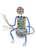 Twisted man from a computer cable Stock Photos