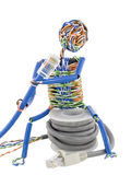 Twisted Man Looks On Patch Cable Royalty Free Stock Photography