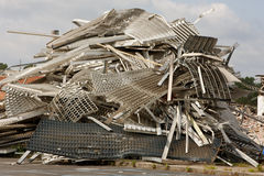 Twisted Metal And Debris Is Piled High At Demolition Site Stock Images