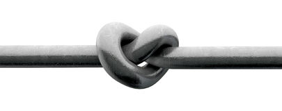 Twisted Metal Heart. A metal pole twisted into a knotted shape that resembles a heart on an isolated background royalty free illustration