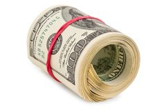 Twisted pack of dollars Stock Photo