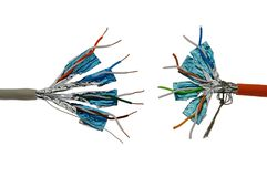 Twisted pair UTP network cables, aluminium foil shielding and violet PVC insulation jacket stock photos