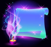 Twisted parchment and burning candle royalty free illustration