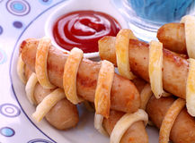 Twisted Pastry Sausages Stock Photography