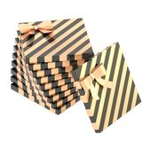 Twisted pile of gift boxes isolated Stock Image