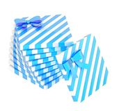Twisted pile of gift boxes isolated Royalty Free Stock Image