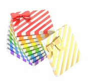 Twisted pile of gift boxes isolated Royalty Free Stock Photography