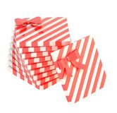 Twisted pile of gift boxes isolated Stock Photography