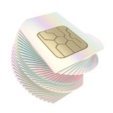 Twisted pile of phone SIM cards with circuit microchips Royalty Free Stock Image