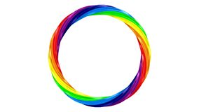 Twisted rainbow ring on white background. isolated 3d render stock footage