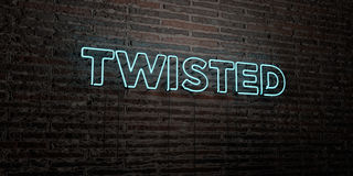 TWISTED -Realistic Neon Sign on Brick Wall background - 3D rendered royalty free stock image Stock Photo