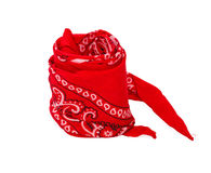 Twisted red bandana. Removed from hand isolaten on white background Stock Photos